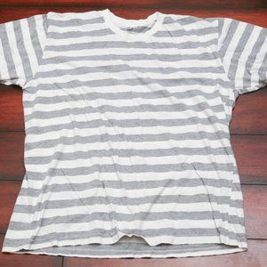 grey and white stripe T- shirt